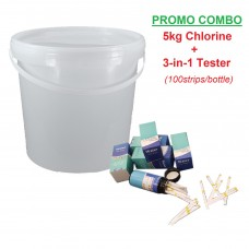 Pool Chlorine - 70% Granular 70G (5kg/Pail) & 3in1 Water Quality Tester (100strips) [PROMO COMBO]